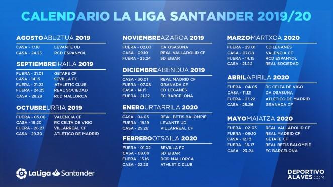 Calendario La Liga 2019.Consulta El Calendario Albiazul Para La Temporada 2019 20 Alaves