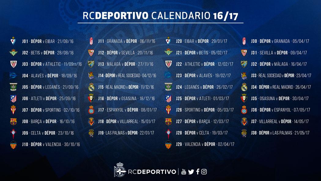 Calendario Del Barca.El Depor Ya Conoce El Calendario De La Temporada 2016 2017 Pagina