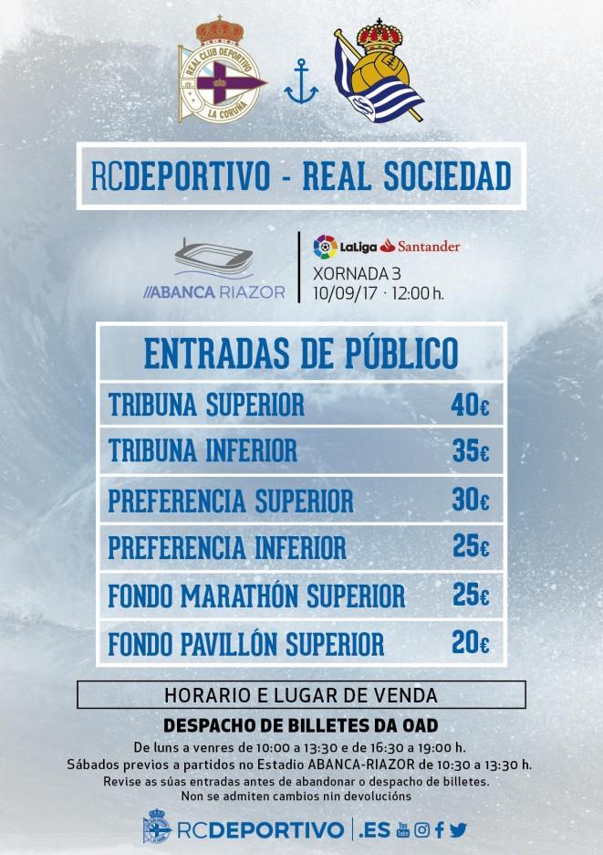 5cec2a0e6 Precios de las entradas de público para el Dépor-Real Sociedad (domingo 10  de septiembre, 12:00 horas):