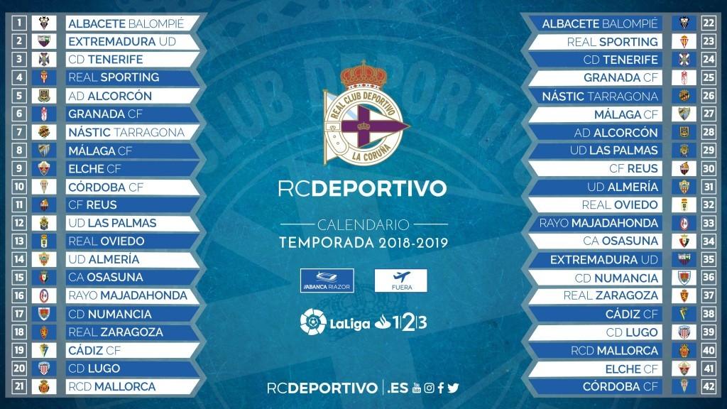 Calendario De Segunda Division De Futbol.El Depor Ya Conoce El Calendario De La Temporada 2018 2019 Pagina
