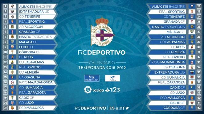 Calendario Ud Las Palmas.Depor 2018 2019 Fixtures Pagina Oficial Del R C Deportivo De La