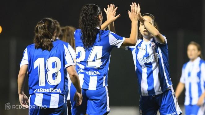 Futbolistas del Deportivo ABANCA celebrando un gol (Foto: RCD).