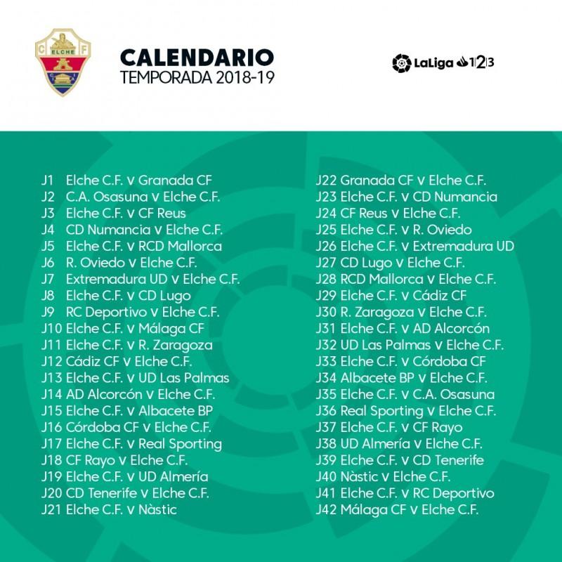 As Calendario Liga 123.Equipo Calendario Para La Temporada 2018 2019 Elche