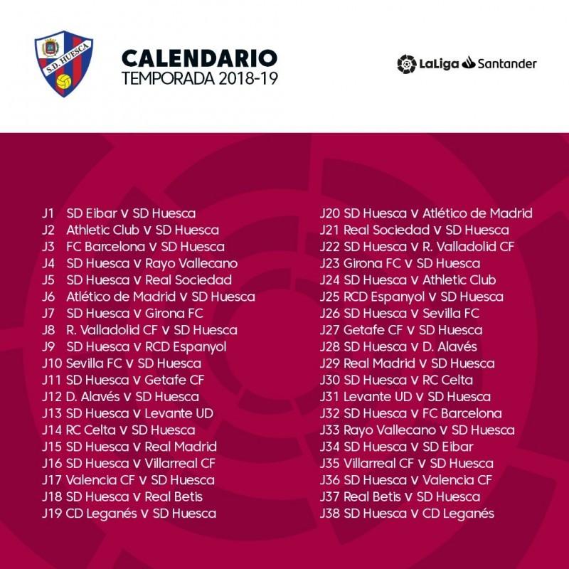 Calendario Liga Santander 2019 20 Betis.La Sd Huesca Ya Conoce Su Calendario Sd Huesca