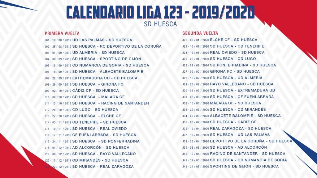 Calendario La Liga 2019.Calendario Oficial De La Sd Huesca Para La Temporada 2019 2020 Sd