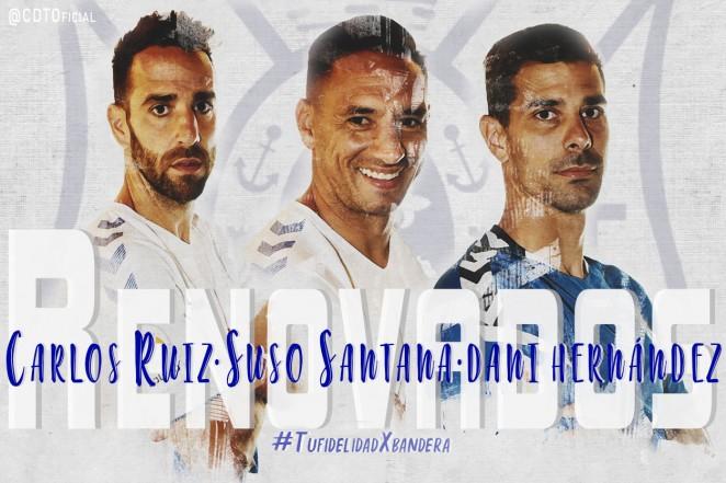 Suso Santana, Carlos Ruiz y Dani Hernández, renovados