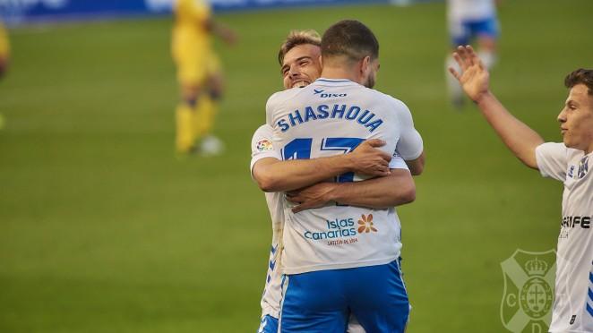 Sam Shashoua tras su gol ante el Alcorcón